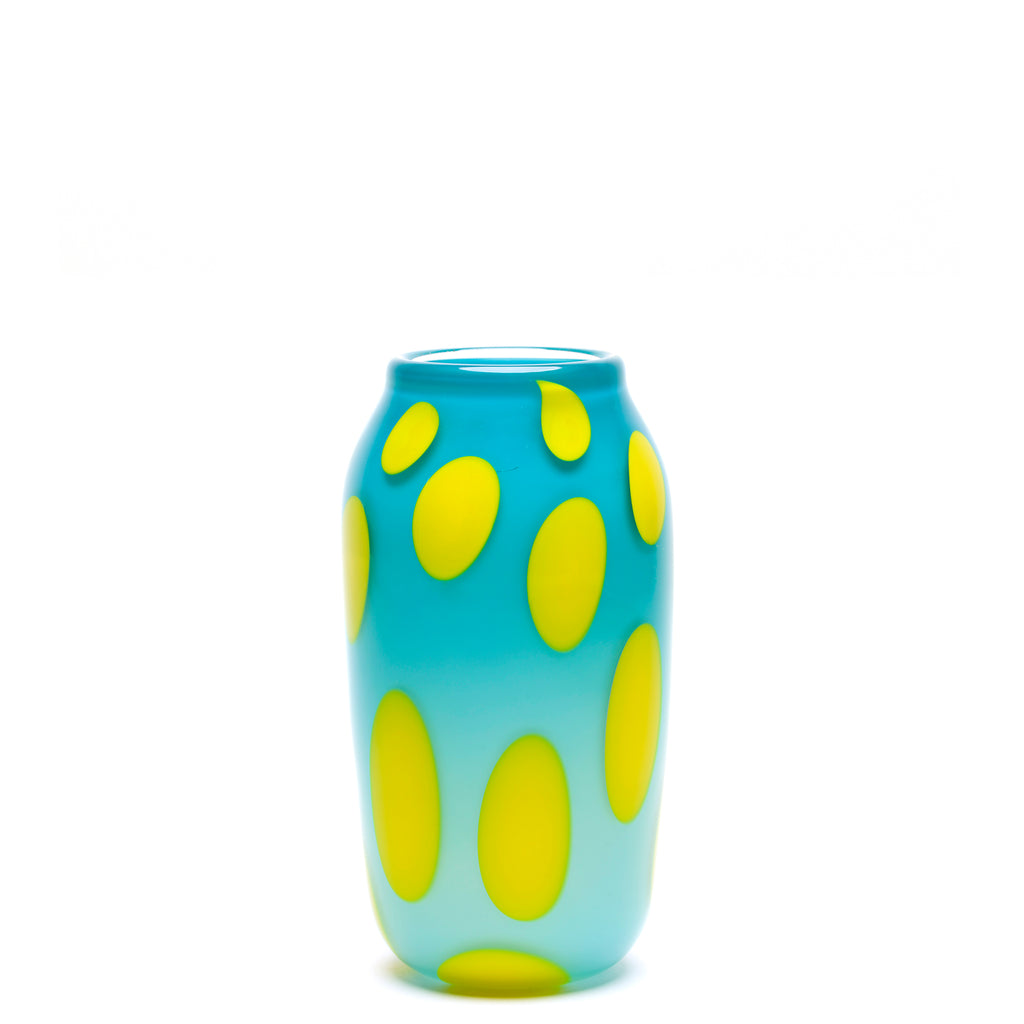 Turquoise with Yellow Spotted Vase
