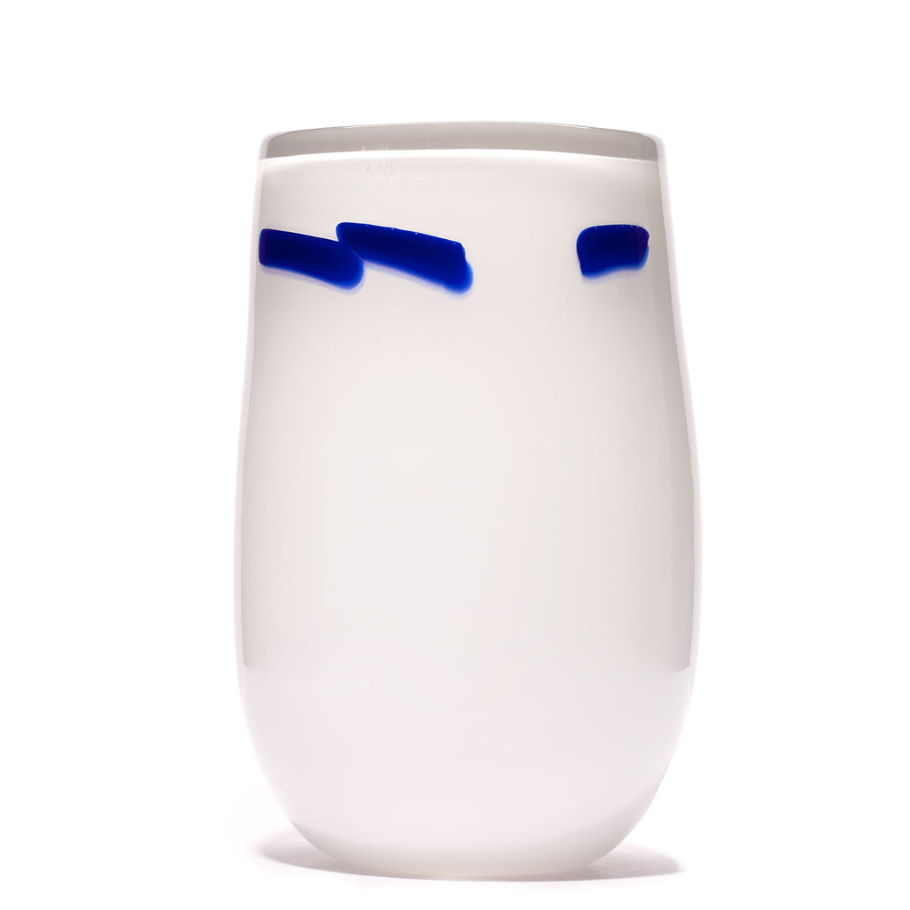 White/Blue Stroke Vase