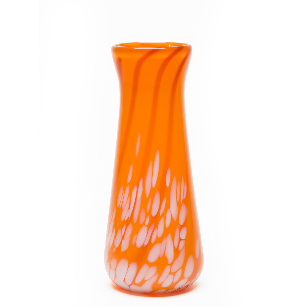 Tangerine/Burnt Orange/White Stripe Spotted Vase