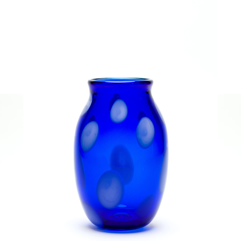 Transparent Royal Blue/White Spotted Vase