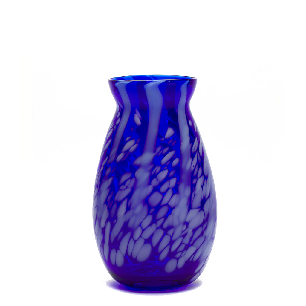 Transparent Royal Blue/White Stripe Spotted Vase
