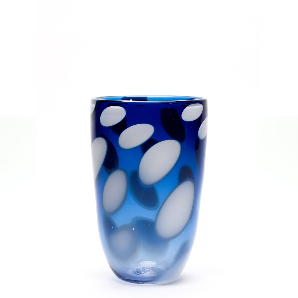 Transparent Blue/White Spotted Vase