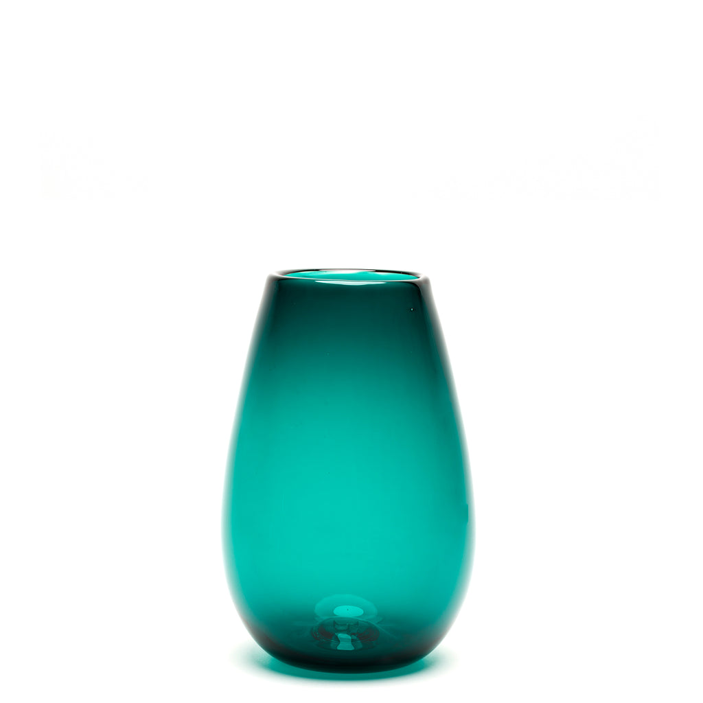 Transparent Teal Teardrop Vase