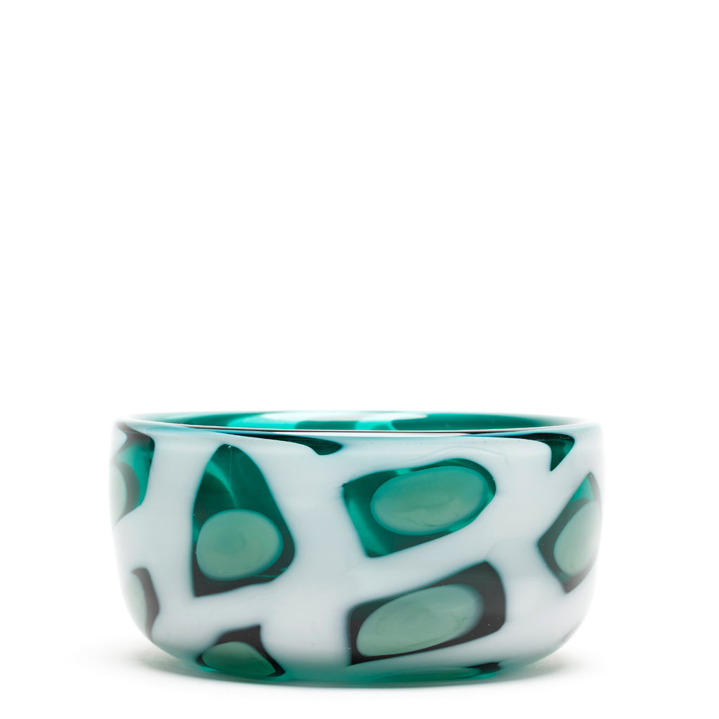 Transparent Teal with Mint/White Honeycomb Bowl