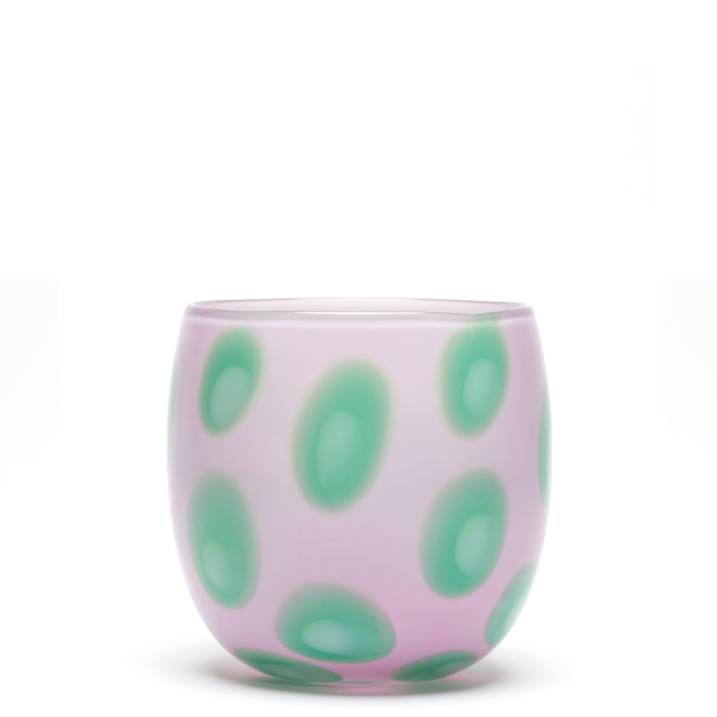 Lilac/Green Spotted Round Vase