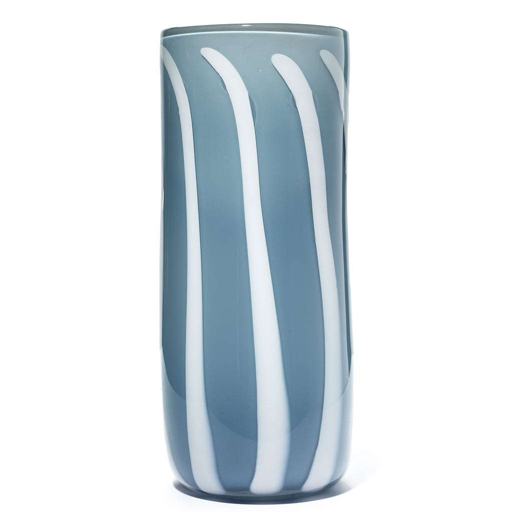 Blue Grey/White Stripe Cylinder Vase