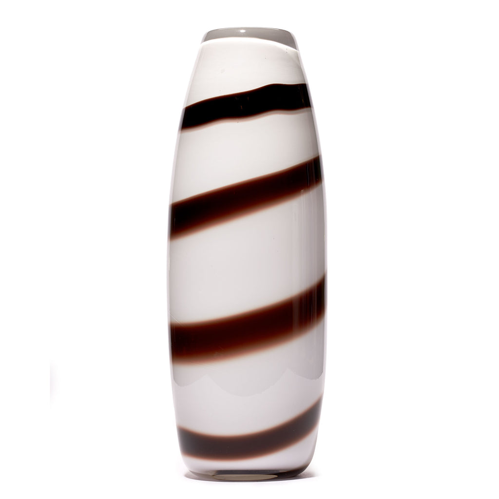 White/Brown Stripe Vase