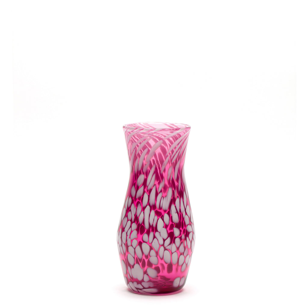 Transparent Raspberry/White Spotted Vase
