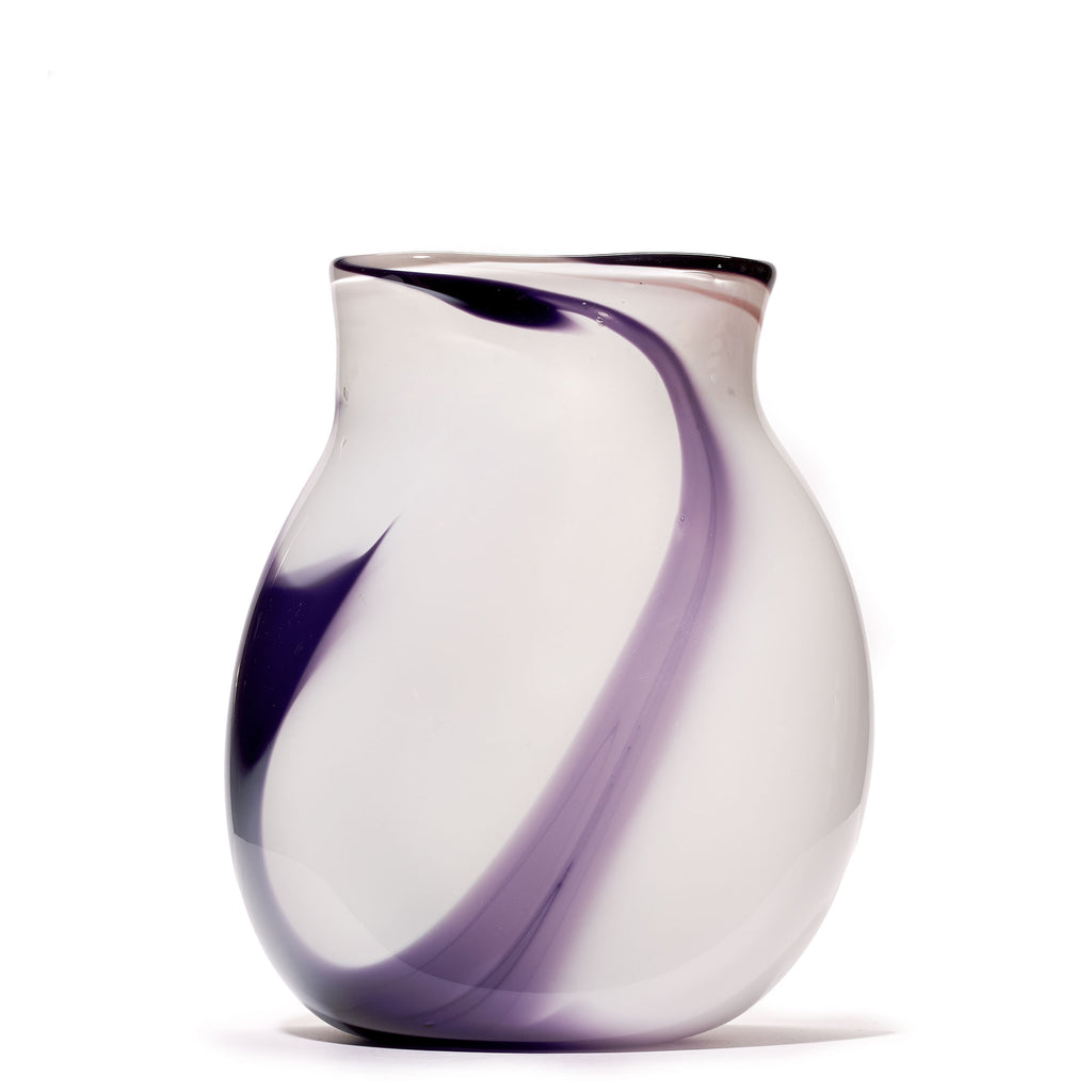 White/Purple Swirl Vase