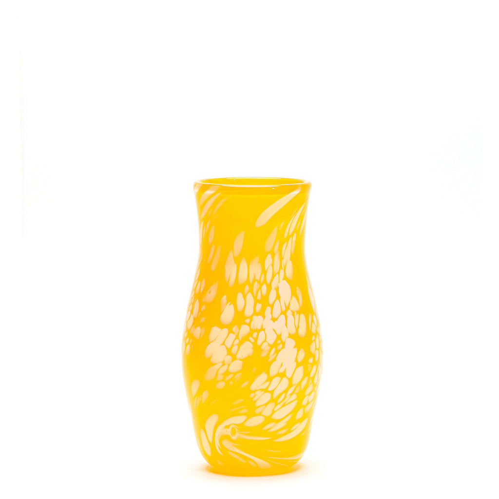 Transparent Yellow/White Spotted Vase