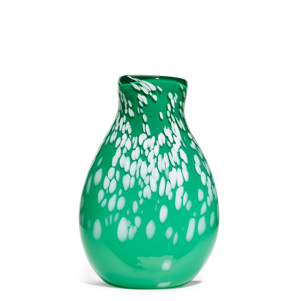Green/White Spotted Round Vase