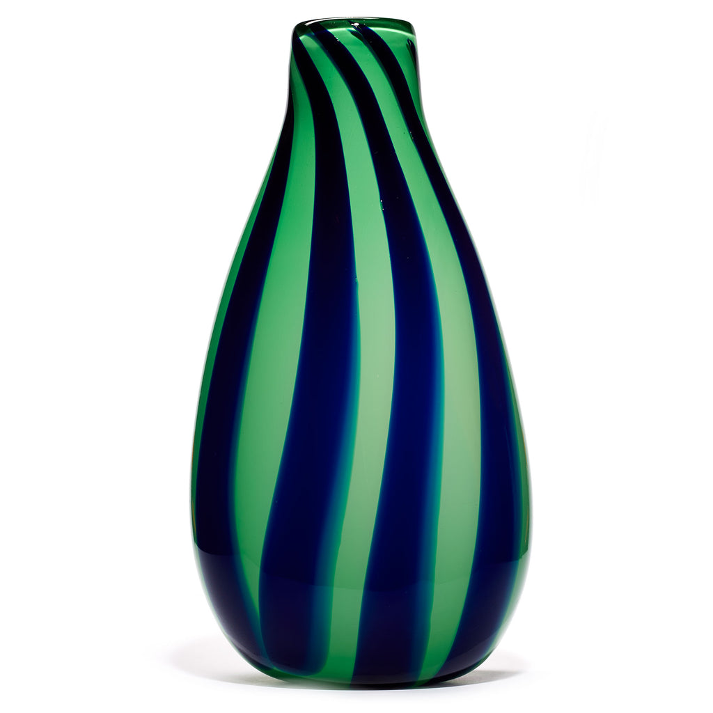 Green/Navy Stripe Vase