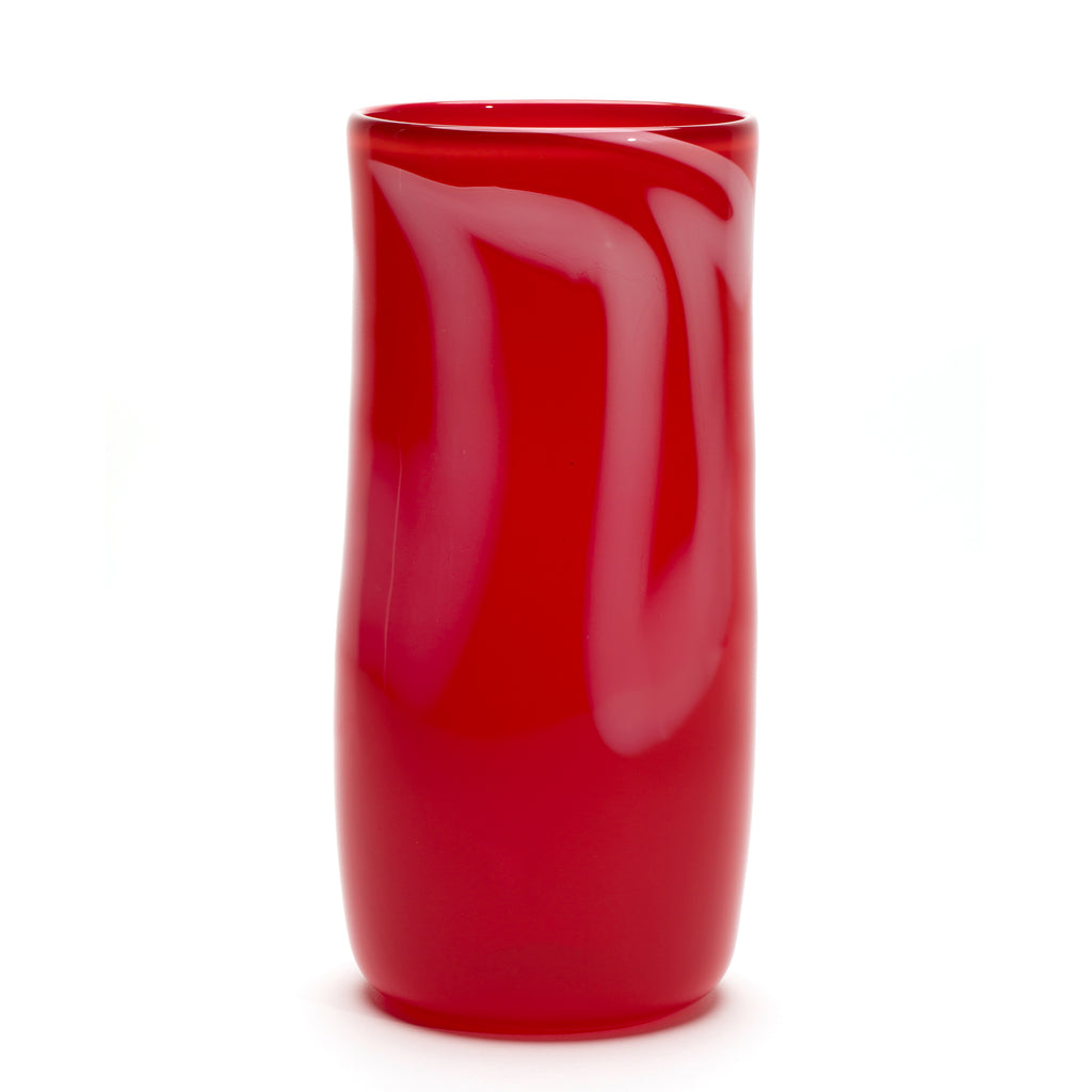 Red/White Stroke Vase