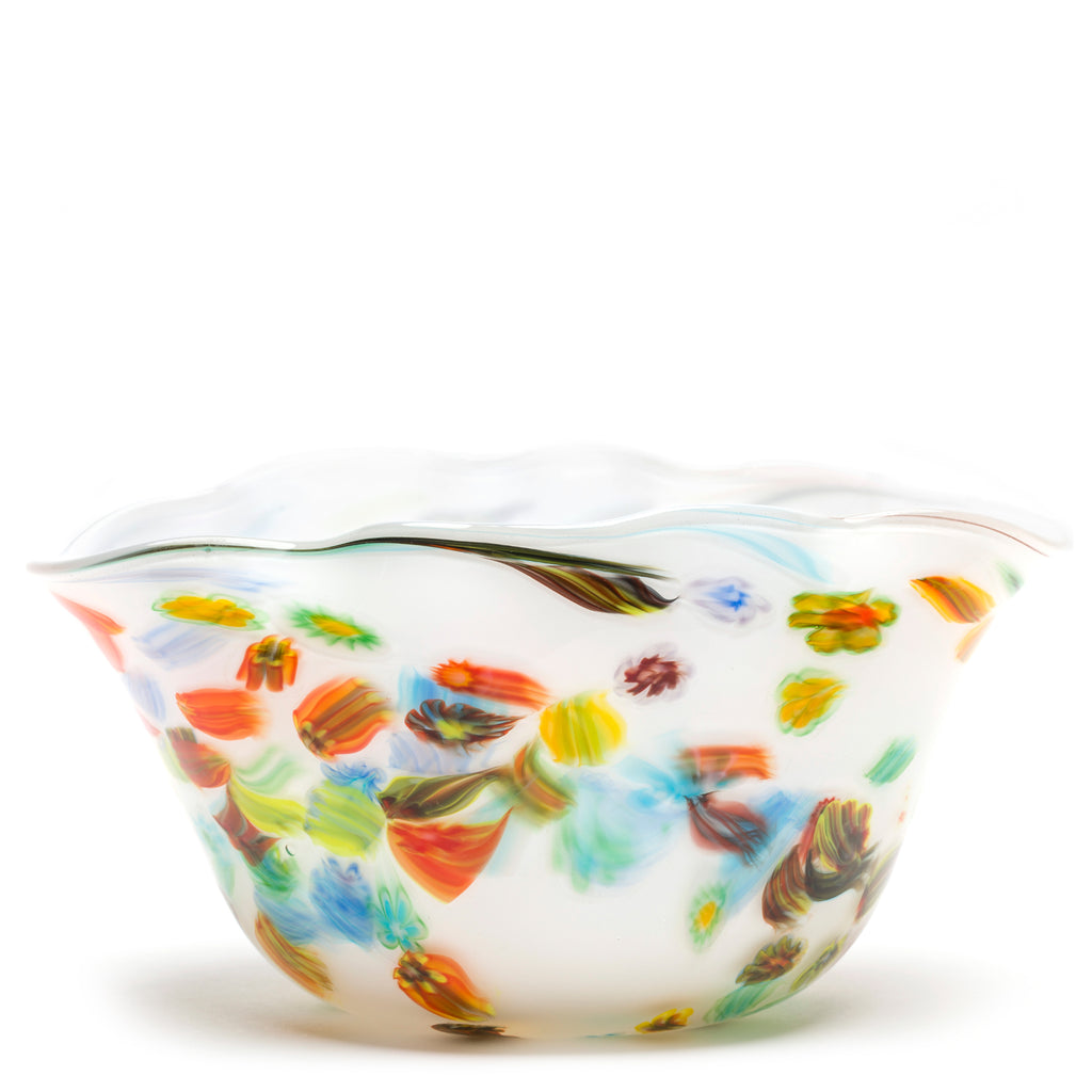 White with Rainbow Flower Wavy Bowl