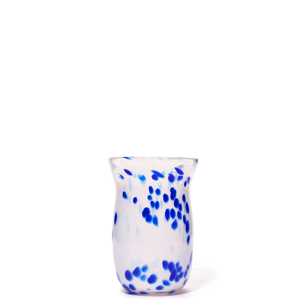 White/Blue Small Spotted Vase