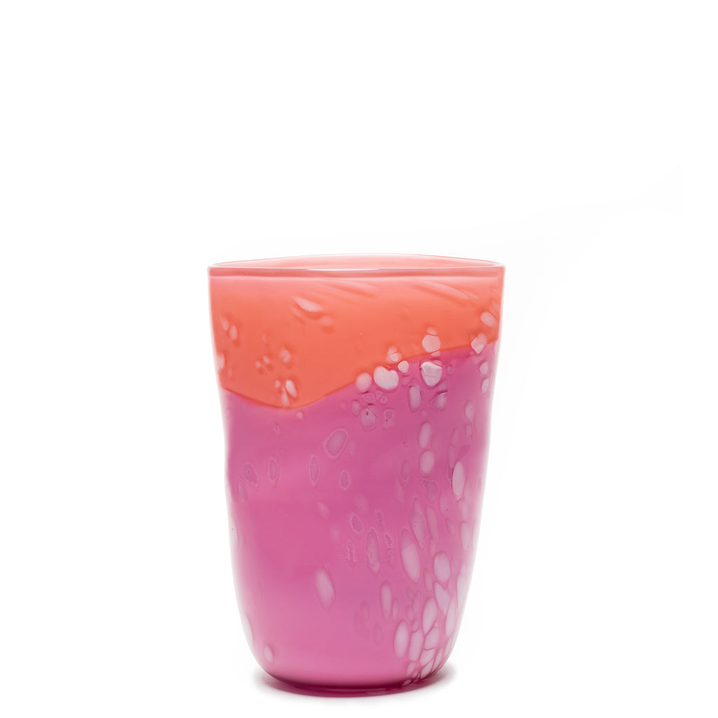 Pink/Coral/White Spotted Vase