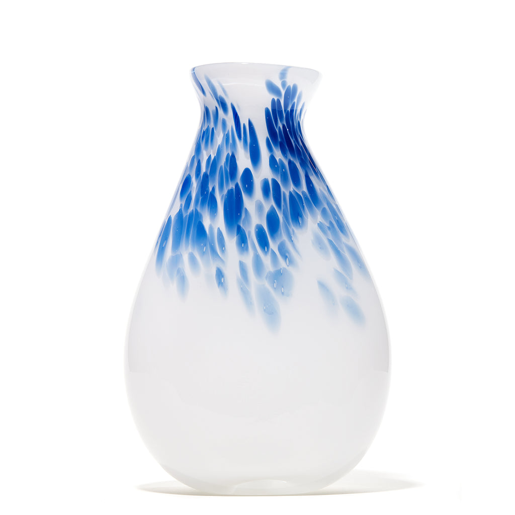 Blue/White Spotted Matte Vase