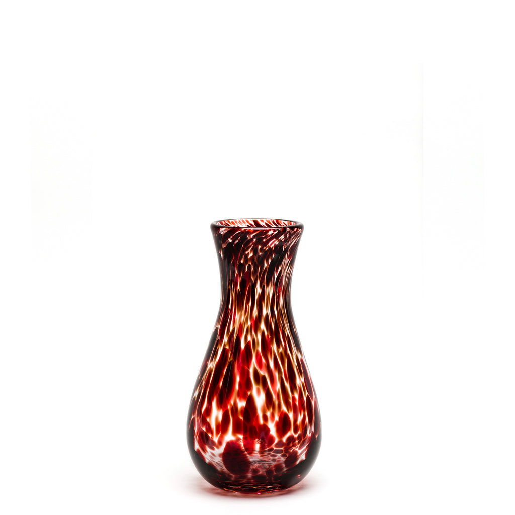 Burgundy/Transparent Spotted Bud Vase