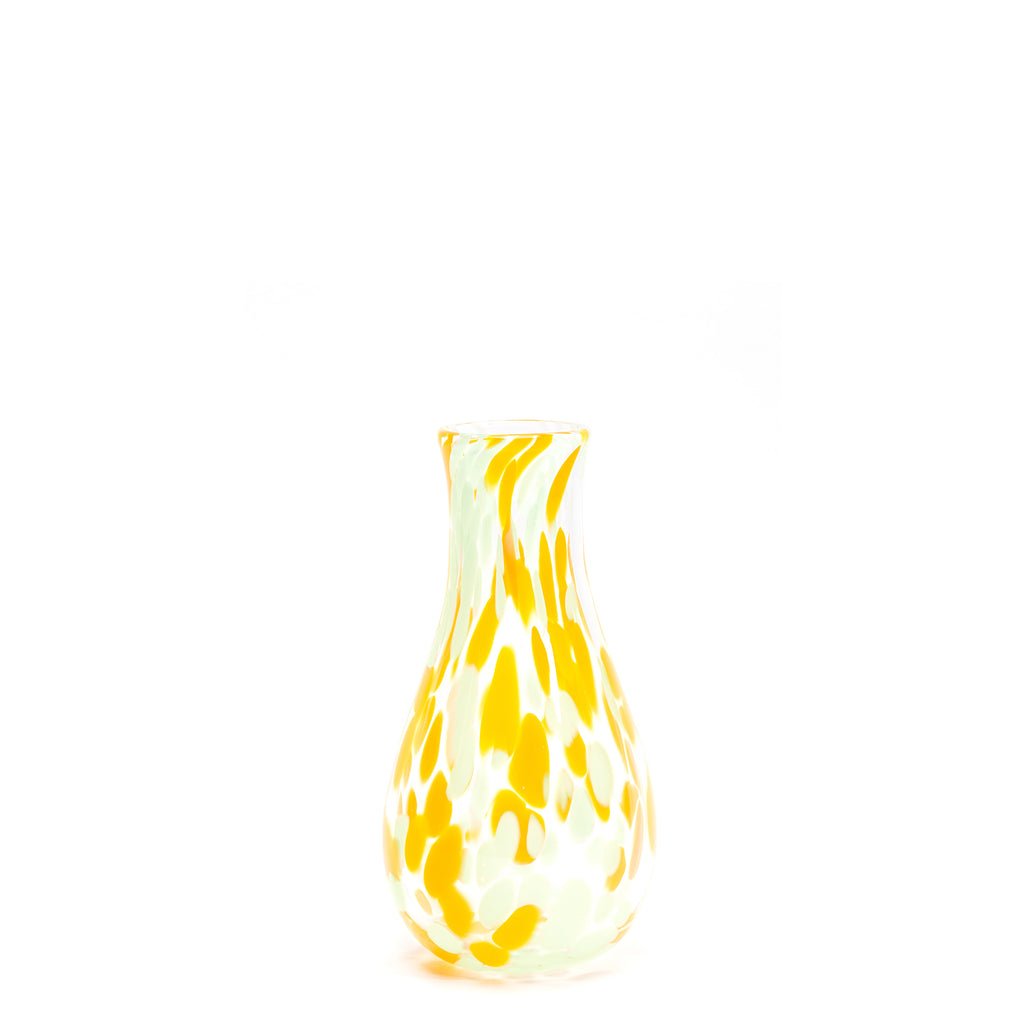 Yellow/Seafoam Green/Transparent Spotted Bud Vase