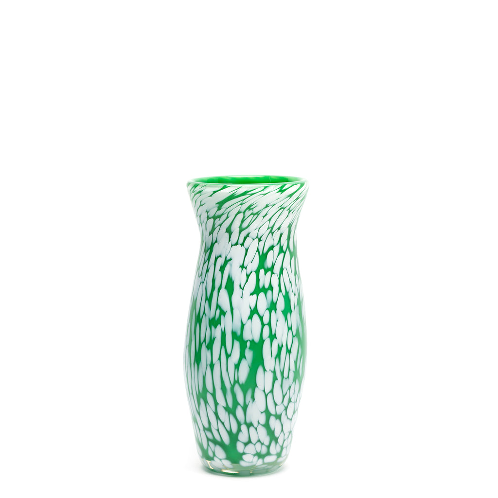 Emerald Green/White Spotted Vase