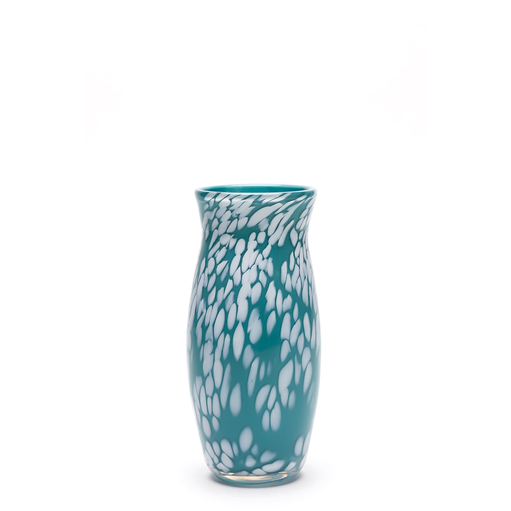 Teal/White Spotted Vase