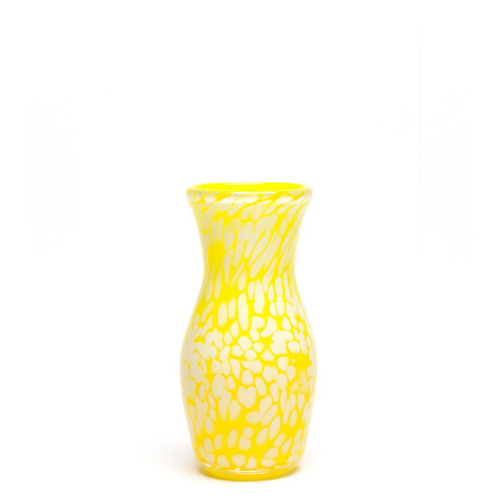 Transparent Neon Yellow/White Spotted Vase