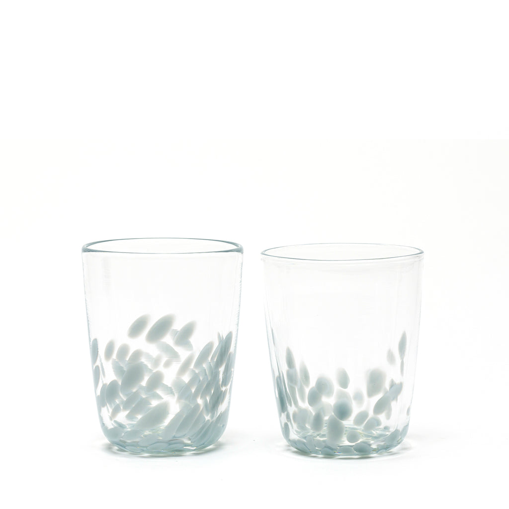 Light Grey/Transparent Spotted Set of Two Tumblers