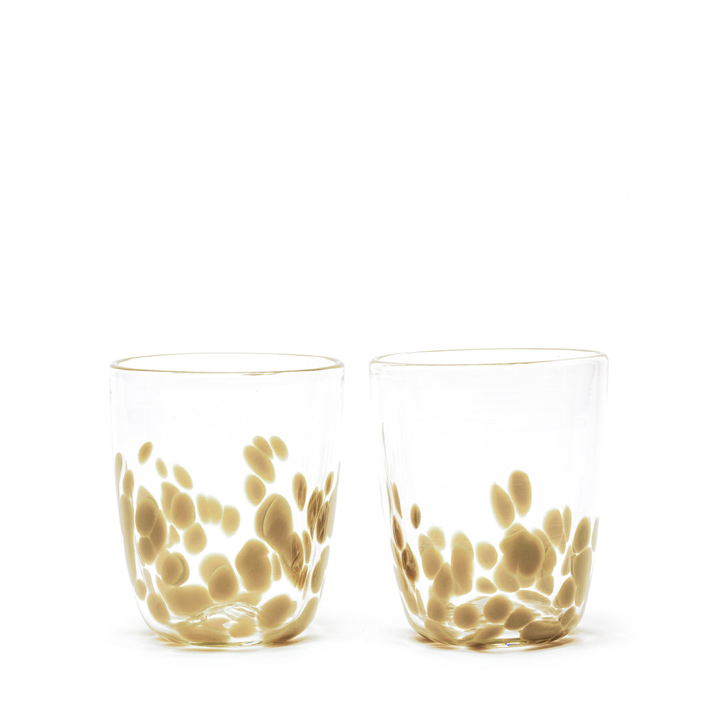 Olive/Transparent Spotted Set of Two Tumblers