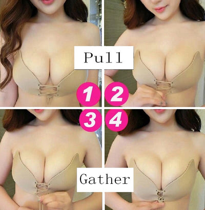 Strapless Push-Up Adhesive Bra (A, B, C, D, E, F Cup)