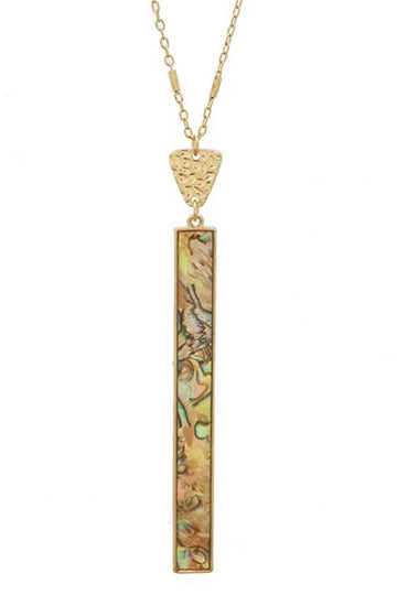 Women's Abalone Bar Necklace