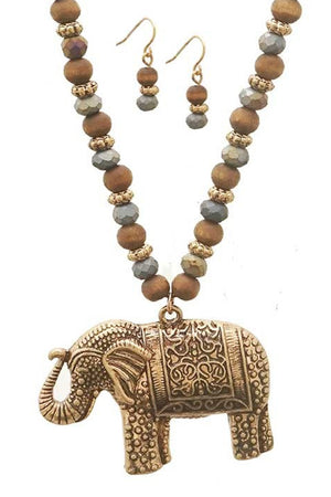 Women's Metal and Wood Bead Elephant Necklace