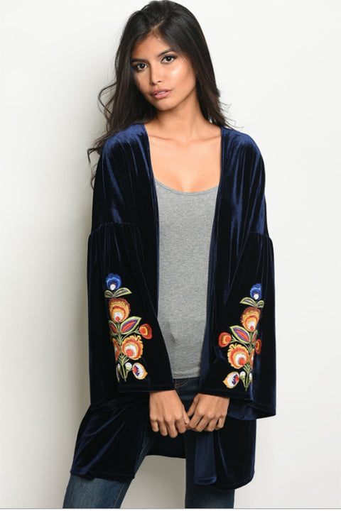 Women's Velvet Cardigan in Navy Blue