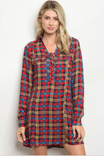 Women's Long Sleeve Plaid Tunic Dress