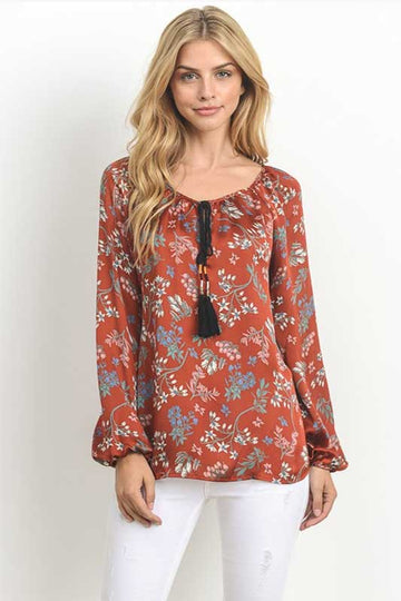 My Rusty Tassel Long Sleeve Floral Top