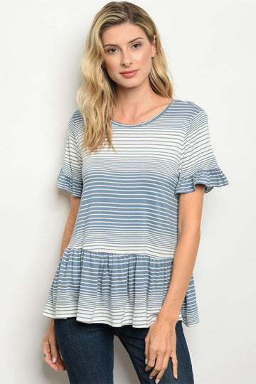 Women's Short Sleeve Striped Tunic
