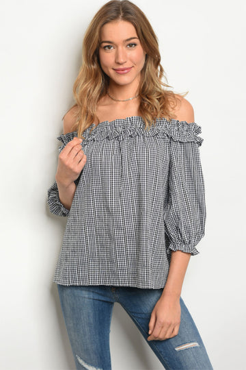 Reserved Checkered Off Shoulder Top