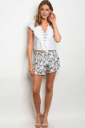 Women's Floral Shorts with Ruffles