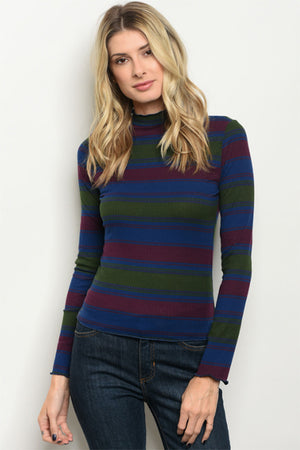 Women's Olive Striped Top for Fall and Winter