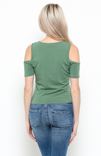 Women's Casual Cold Shoulder Sage Green Shirt