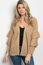Women's Taupe Cardigan with Ruffles