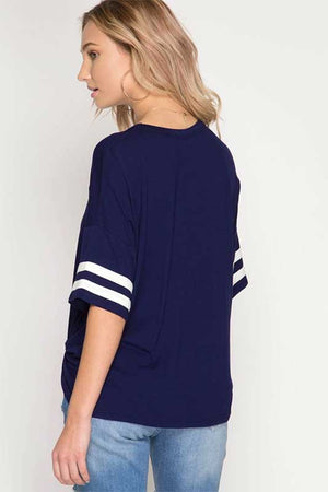 Women's Navy Blue Half Sleeve Top with Varsity Stripes