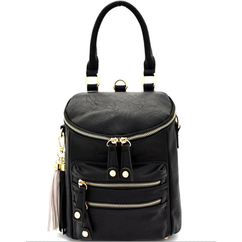 black fashion backpack handbag
