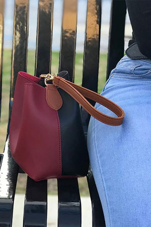 Red and Black Wrist or Shoulder Bag Vegan Leather