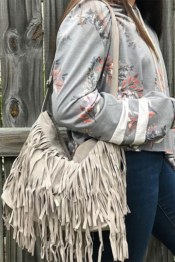 Aylen Suede Fringe Shoulder Bag