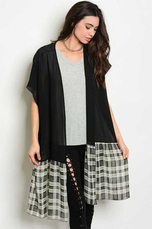 Women's Sheer Black and Plaid Cardigan