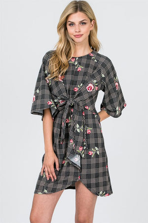 Women's Plaid and Floral Dress with Front Knot Detailing