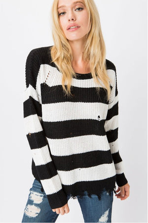 women's striped black and white sweater