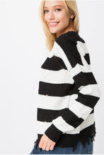 Women's Distressed Striped Sweater For Fall