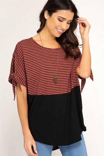 It's Not Another Brick Striped Short Sleeve Top