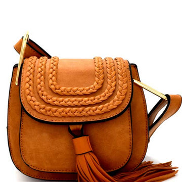 Demi Vegan Tassel Accent Braided Cross Body Saddle Bag - Brown